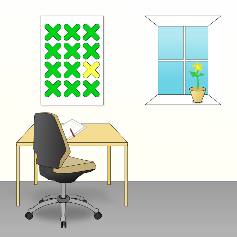 White room with grey carpet, desk, chair, windowsill with plant, and painting with 11 green Xs and one yellow X in a grid