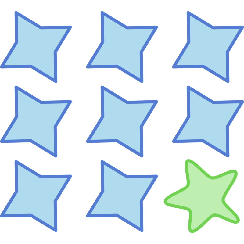 T-shirt graphic 3x3 blue stars with one green