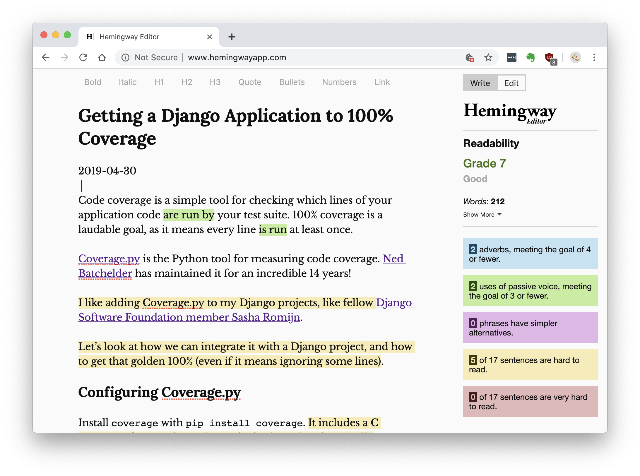 hemingwayapp.com with blog sample